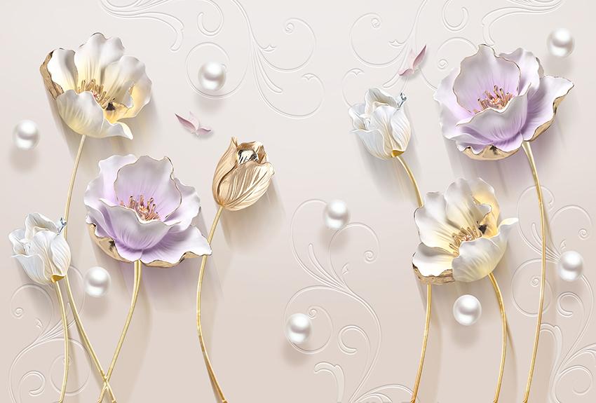 3Д цветы с жемчужинами