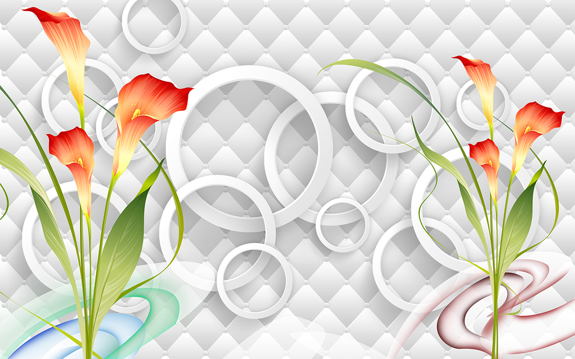 3Д круги и цветы