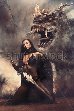 Девушка с мечем и дракон