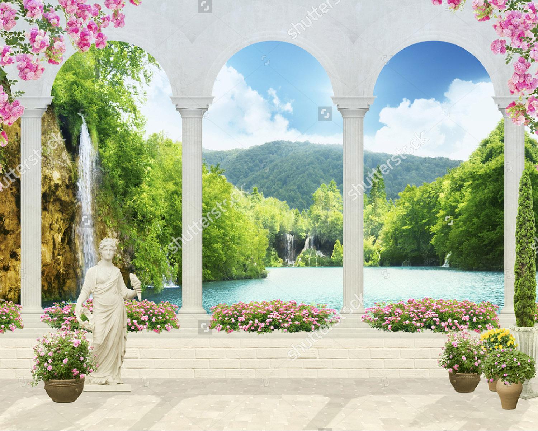 Купить фотообои старый балкон с колоннами и видом на статую .