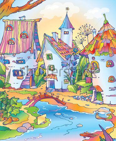Каталог Картина сказочный город: Детские | Wall-Style