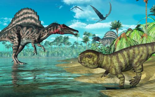 Каталог Фотообои динозавры у ручья:    Wall-Style