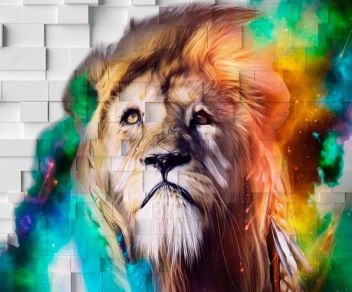 Каталог Фотообои лев на стене:    Wall-Style