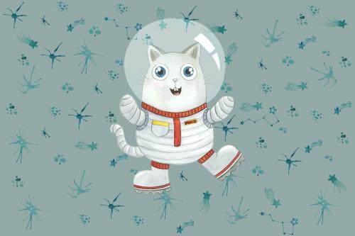 Каталог Фотообои кот космонавт:  | Wall-Style