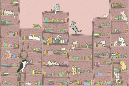 Каталог Картина книжные полки с котятами: Детские   Wall-Style