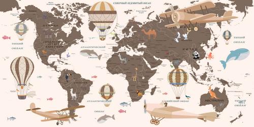 Каталог Картина коричневая карта на рус. языке: Детские   Wall-Style