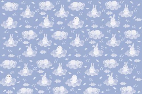 Каталог Картина зайки с облачками на синем фоне: Детские   Wall-Style