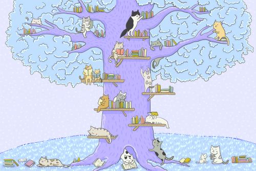 Каталог Картина котята на дереве с книгами: Детские | Wall-Style