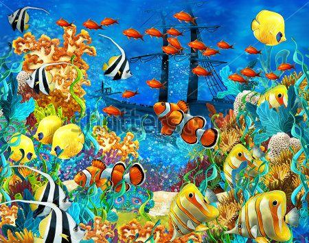 Каталог Фотообои рыбки в море:  | Wall-Style