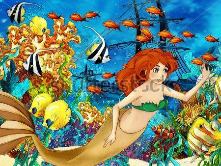 Каталог Картина русалочка возле корабля: Детские | Wall-Style