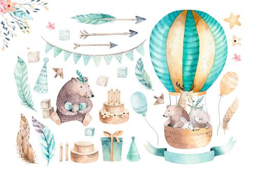 Каталог Картина звери на воздушном шаре: Детские | Wall-Style