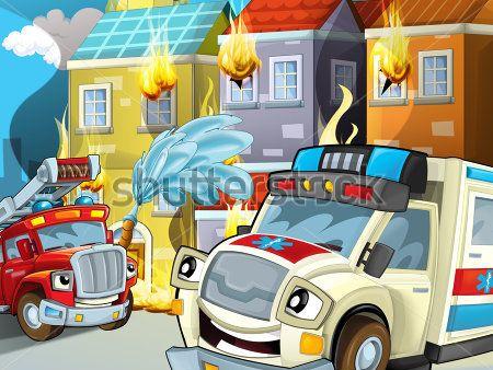 Каталог Картина пожарные машинки в деле: Детские   Wall-Style