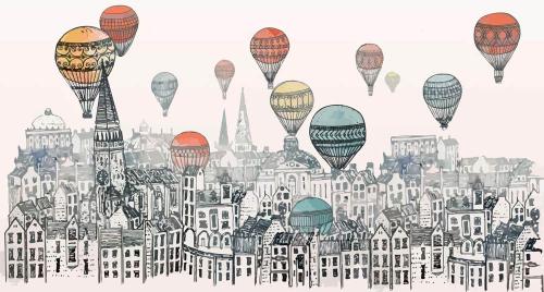 Каталог Картина воздушные шары над городом: Детские | Wall-Style