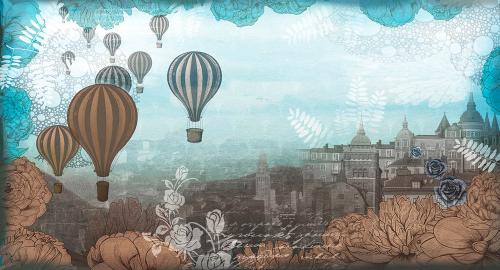 Каталог Картина воздушные шары над городом: Детские   Wall-Style