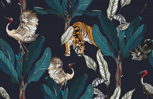 Каталог Картина тигр среди тропиков: Листья   Wall-Style