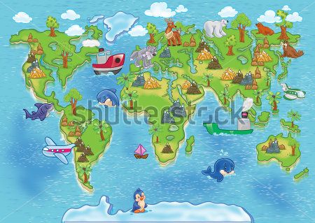 Каталог Картина карта мира: Детские   Wall-Style