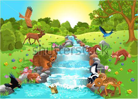 Каталог Картина звери на водопое: Детские   Wall-Style