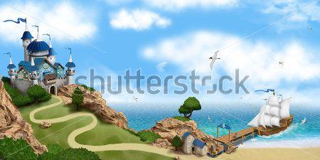 Каталог Картина замок у моря: Детские | Wall-Style