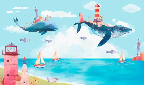 Каталог Картина киты с маяками: Детские   Wall-Style