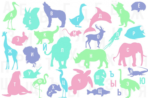 Каталог Картина животные с алфавитом: Детские   Wall-Style