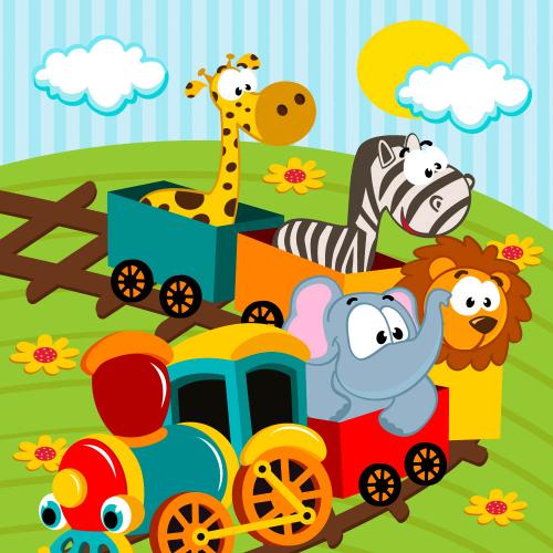 Каталог Картина поезд с животными: Детские | Wall-Style