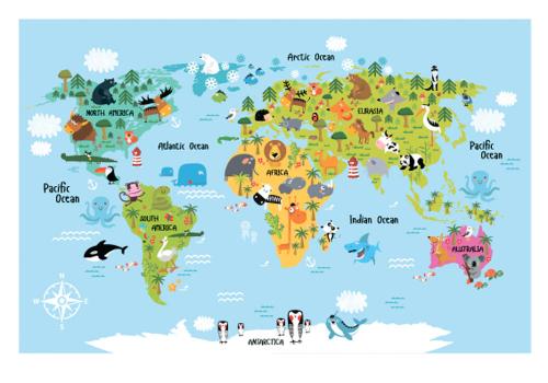 Каталог Картина карта с разными животными: Детские | Wall-Style