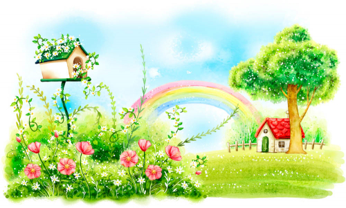 Каталог Картина лужайка у дома: Детские | Wall-Style
