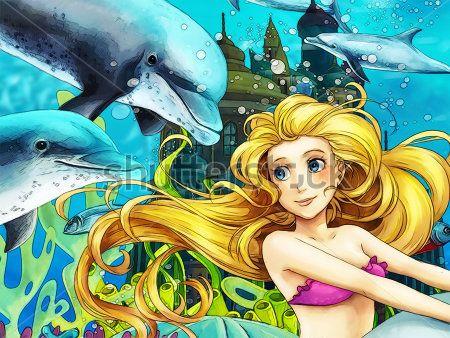 Каталог Фотообои русалочка и дельфины:    Wall-Style