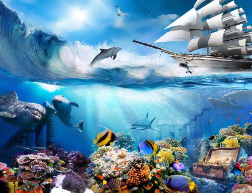 Каталог Картина подводные сокровища: Детские   Wall-Style
