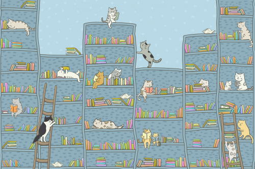Каталог Картина котята на книжных полках: Детские | Wall-Style