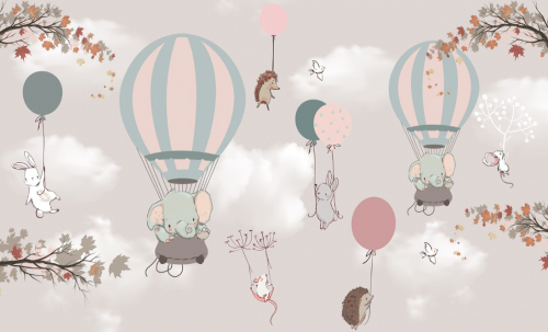 Каталог Фотообои слоники на воздушных шарах:    Wall-Style