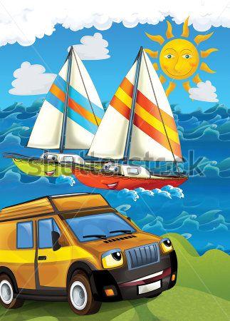 Каталог Картина машинка у моря: Детские | Wall-Style