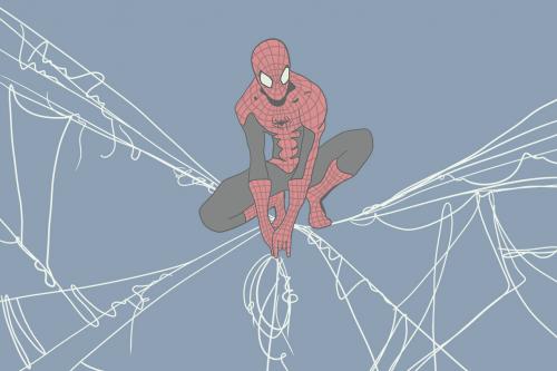 Каталог Фотообои человек паук на синем фоне:    Wall-Style