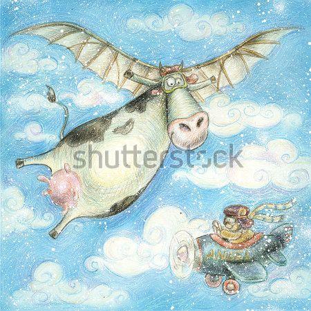 Каталог Картина летающая корова: Детские | Wall-Style