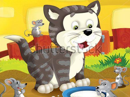 Каталог Картина кот и мышки: Детские | Wall-Style