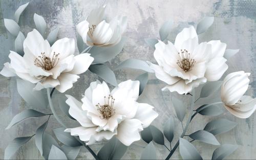 3Д цветы на сером фоне