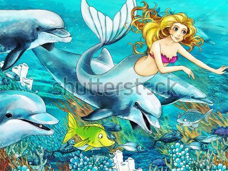 Каталог Картина русалочка в океане: Детские   Wall-Style