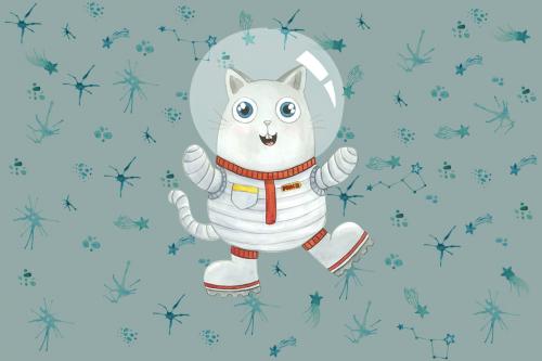 Каталог Картина кот космонавт: Детские   Wall-Style