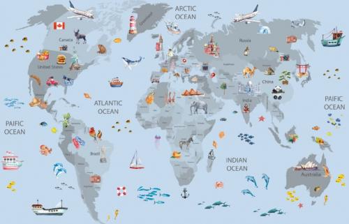 Каталог Картина карта голубого цвета: Детские   Wall-Style