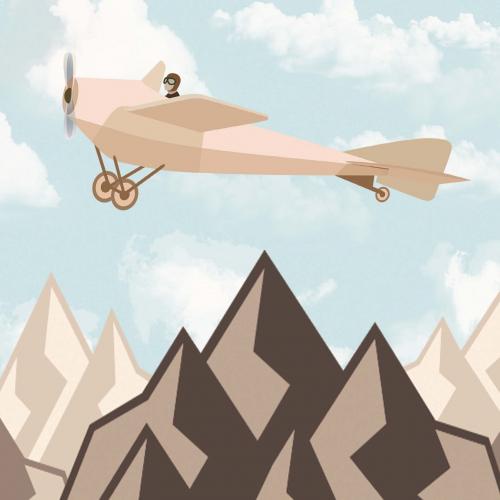 Каталог Фотообои самолет над горами:    Wall-Style
