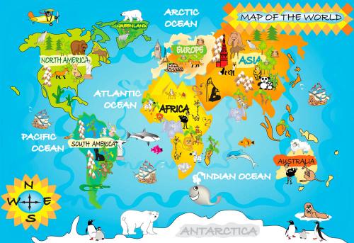 Каталог Картина карта мира с животными: Детские   Wall-Style