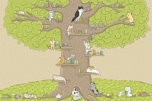 Каталог Фотообои котята с книгами на дереве:    Wall-Style