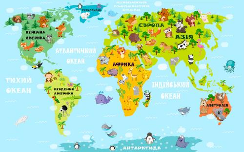 Каталог Картина карта с животными: Детские | Wall-Style