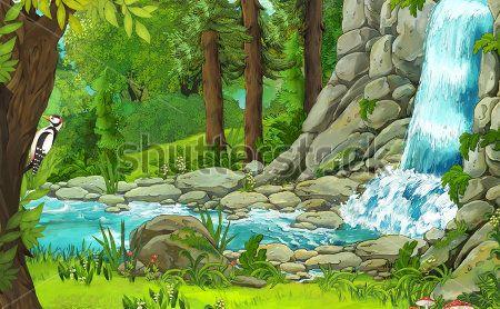 Каталог Фотообои водопад в лесу:  | Wall-Style