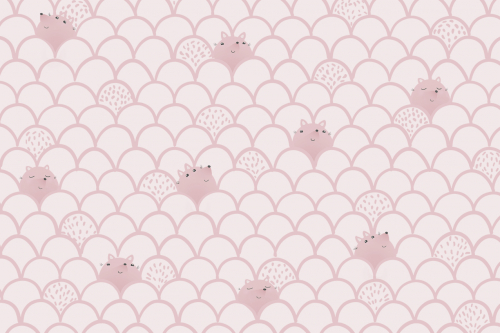Каталог Фотообои розовый паттерн с лисичками:    Wall-Style