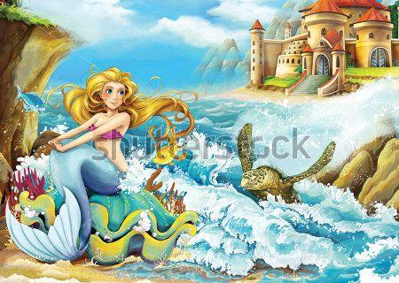 Каталог Фотообои русалка на волнах:  | Wall-Style