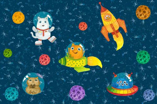 Каталог Картина животные в космосе: Детские   Wall-Style