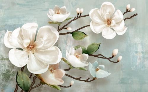 Ветка цветов магнолии 3Д