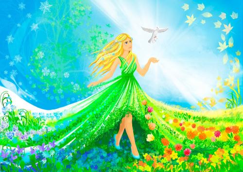 Каталог Картина принцесса в цветах: Детские | Wall-Style
