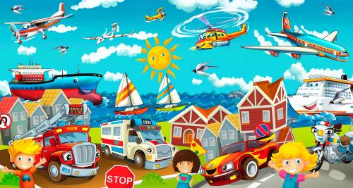 Каталог Картина мультяшный город: Детские   Wall-Style